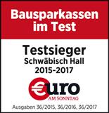 """Schwäbisch Hall: Beste Bausparkasse im Test der Zeitschrift """"Euro am Sonntag"""""""